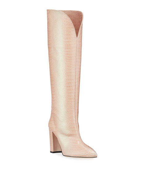 Paris Texas Iridescent Croco Heeled Knee Boots