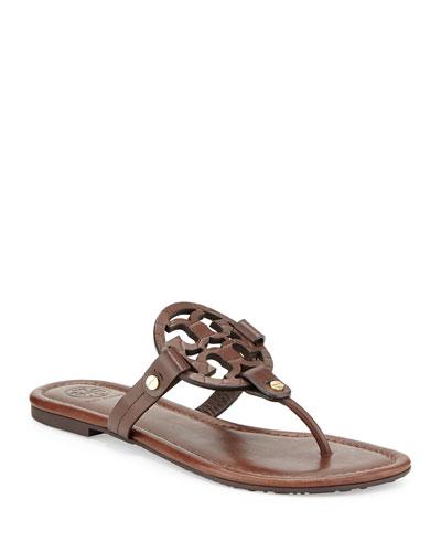Miller Logo Flat Sandals, Chocolate