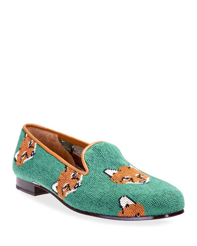 Cub Fox Embroidered Smoking Slipper Loafers