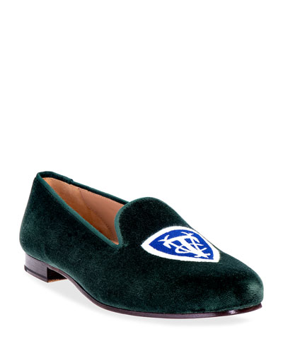 Vedado Tennis Club Logo Embroidered Velvet Smoking Loafers