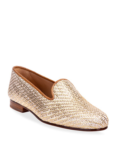 Metallic Woven Smoking Slipper Loafers