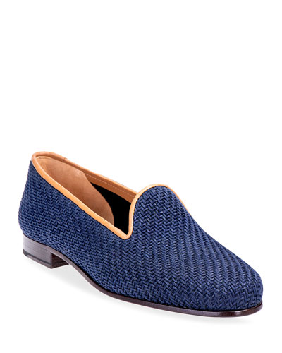 Sisal & Leather Smoking Slipper Loafers