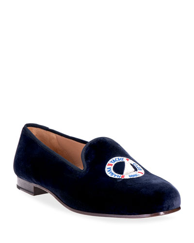 Yacht Logo Embroidered Velvet Smoking Loafers