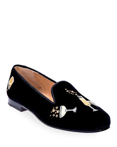 Celebrate Embroidered Velvet Smoking Loafers