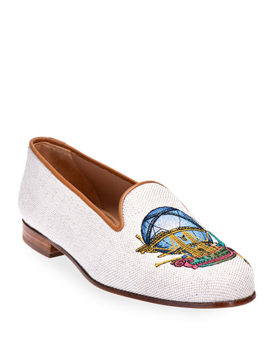 Ballooning Embroidered Linen Smoking Loafers