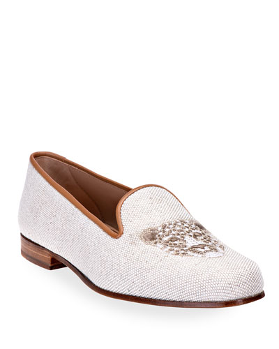 Spotted Cat Embroidered Linen Smoking Loafers