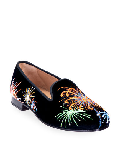 Fireworks Embroidered Velvet Smoking Loafers