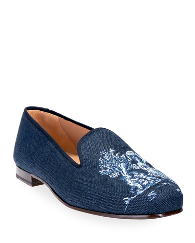 Toile Embroidered Linen Smoking Loafers
