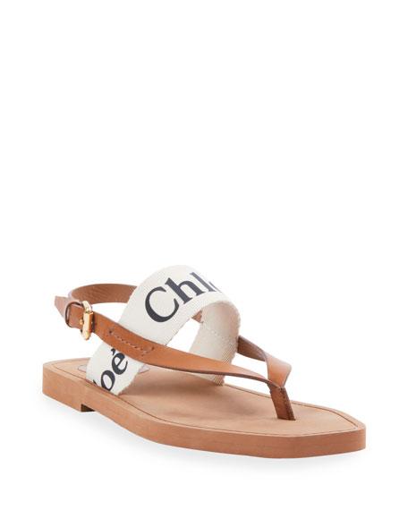 Chloe Canvas Logo Thong Sandals