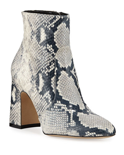 Nell Snake-Print Leather Booties