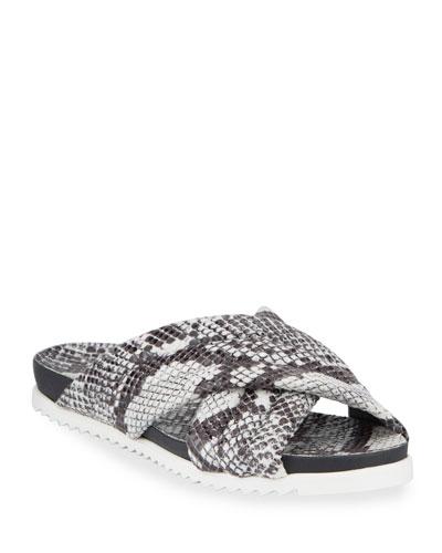 Lye Snake-Print Crisscross Sandals