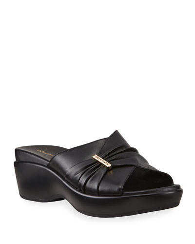 Aubree Grand Ruched Leather Slide Sandals