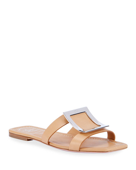 Roger Vivier Biki Viv' Flat Leather Buckle Sandals