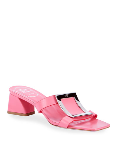 Biki Viv' Buckle Leather Slide Sandals