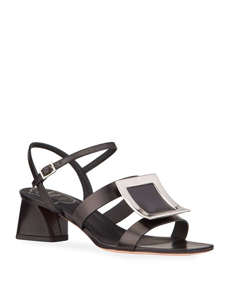 Roger Vivier Biki Viv' Strappy Leather Buckle Sandals