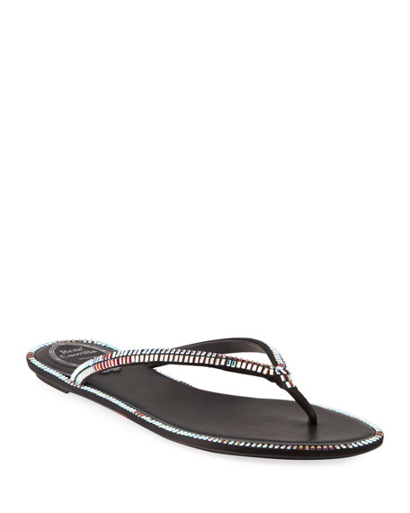 Rene Caovilla Flat Thong Sandals with Baguette Crystal