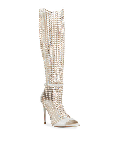 Galaxia 105mm Jeweled Open-Toe Knee Boots
