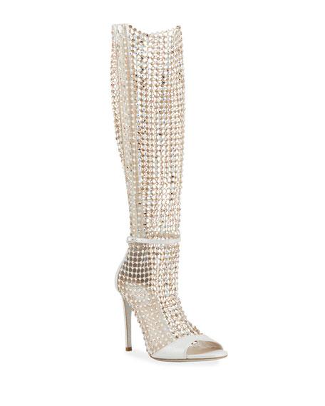 Rene Caovilla Galaxia 105mm Jeweled Open-Toe Knee Boots
