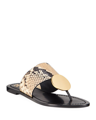 Patos Disk Leather Flat Slide Sandals