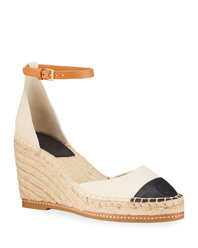 Colorblock Ankle-Strap Wedge Espadrilles