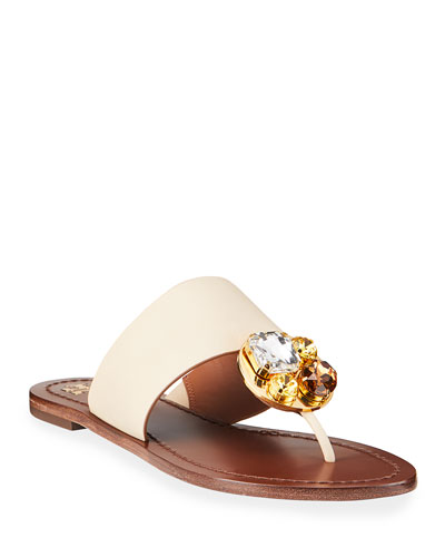 Patos Flat Jeweled Disk Sandals