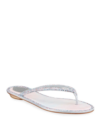 Beaded Flat Sandals | Neiman Marcus