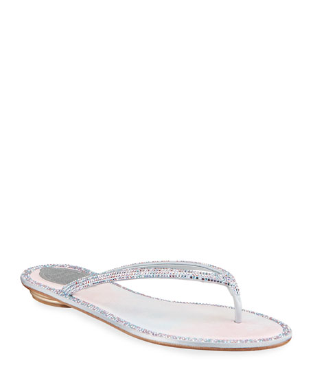 Rene Caovilla Beaded Flat Tie-Dye Thong Sandals