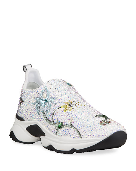 Rene Caovilla Crystal Slip-On Sneaker