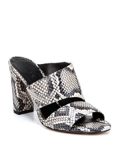 Hiro Snake-Print Leather Mule Sandals