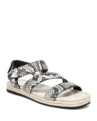 Elian Snake-Print Flatform Sport Sandals