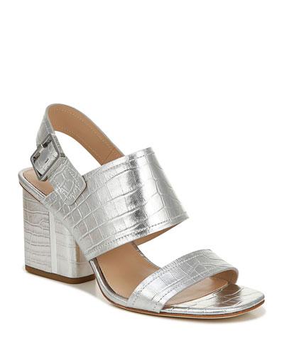 Harriett Metallic Leather Slingback Sandals
