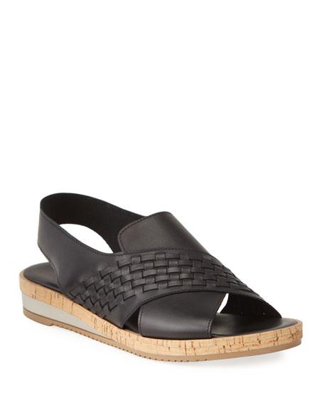 Sesto Meucci Sany Woven Leather Cork Sandals