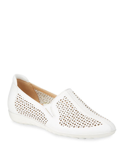 Bev Laser-Cut Leather Sneaker Flats