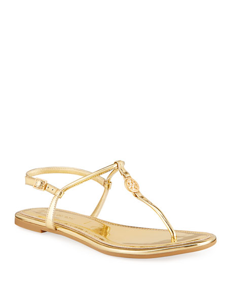 Tory Burch Emmy Metallic Medallion Thong Sandals