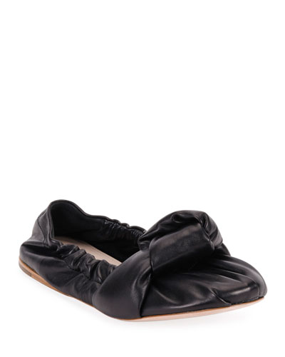 Knotted Leather Ballet Flats