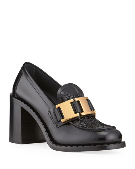 Prada 85mm Topstitch Leather Chain Loafers