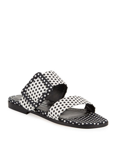 Tituba Flat Polka-Dot Buckle Slide Sandals