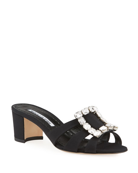 Manolo Blahnik Iluna 50mm New Crepe Buckle Slide Sandals