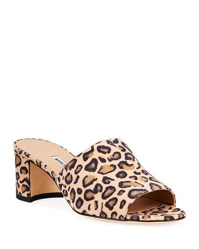 Rapallato Leopard-Print Suede Slide Sandals