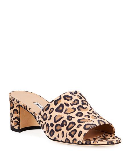Manolo Blahnik Rapallato Leopard-Print Suede Slide Sandals