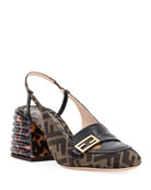 Fendi FF Slingback Loafer Pumps