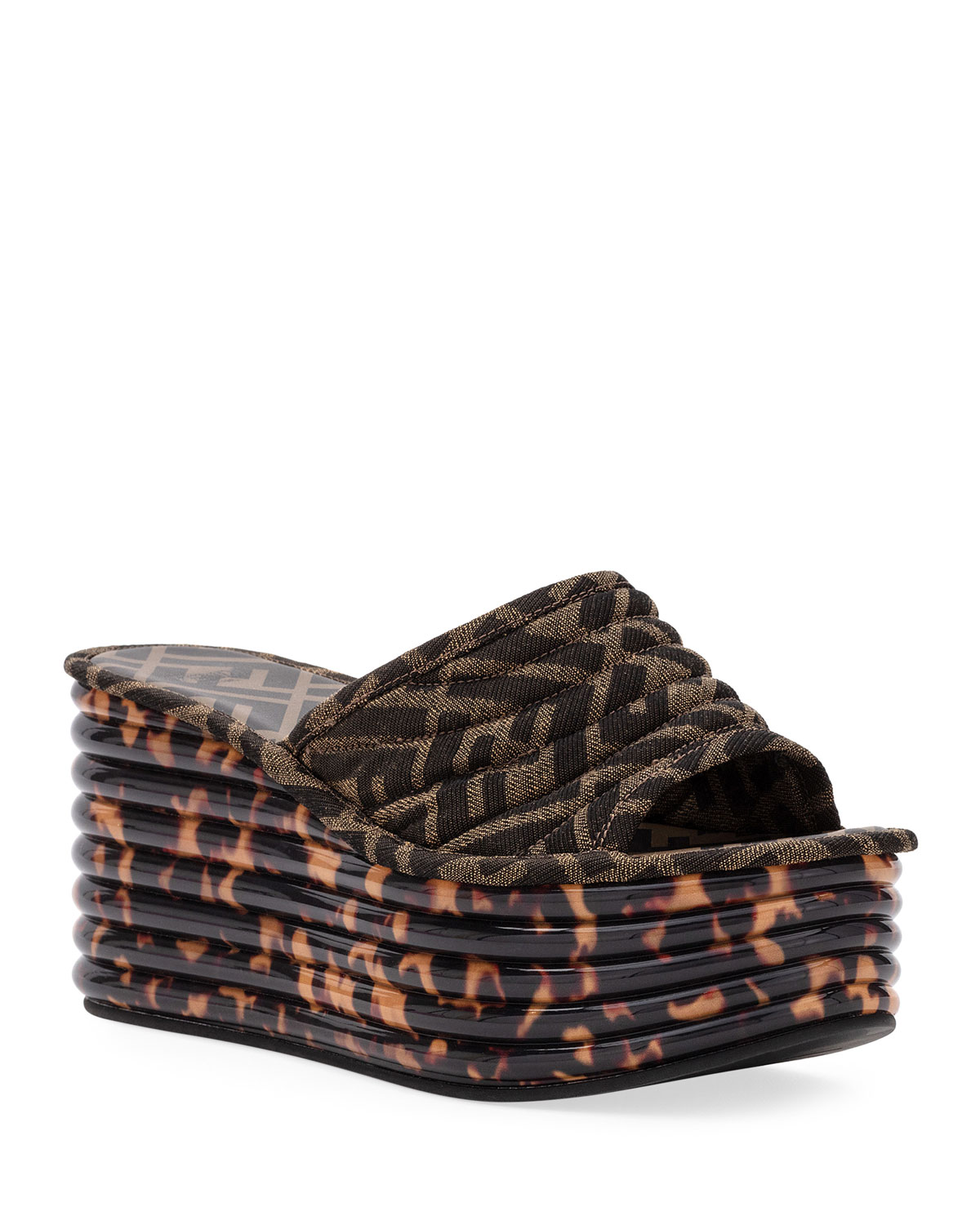 Fendi Sandals FF LOGO WEDGE SLIDE SANDALS