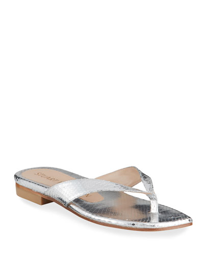 Aldona Flat Metallic Thong Sandals