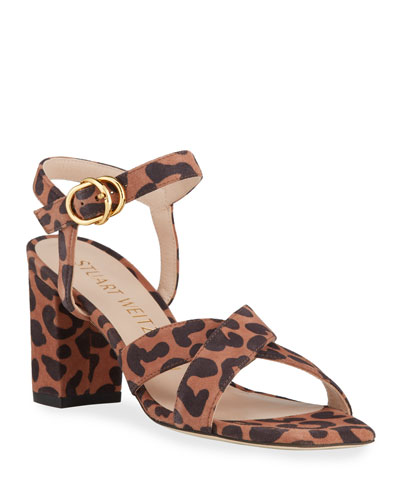 Analeigh 75 Easy Square-Toe Leopard-Print Suede Sandals