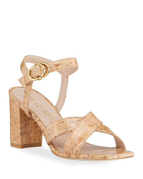 Stuart Weitzman Analeigh Easy Cork Ankle-Strap Sandals