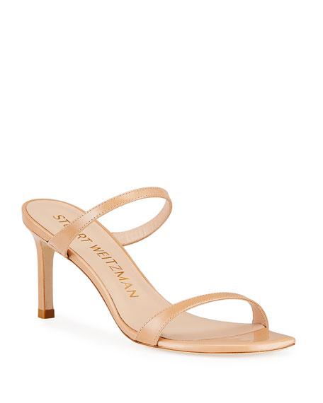 Stuart Weitzman Aleena 75 Naked Square-Toe Patent Slide Sandals