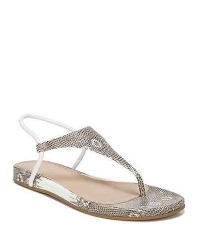 Pixey Flat Embossed Leather Thong Sandals