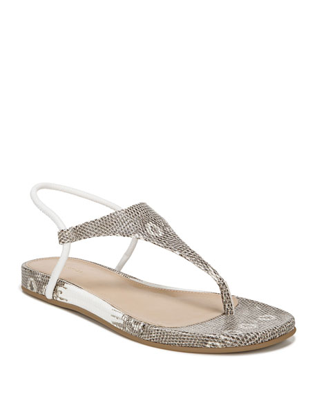Via Spiga Pixey Flat Embossed Leather Thong Sandals