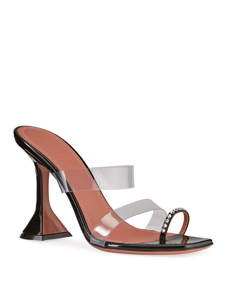 Amina Muaddi Sami Embellished Vinyl Pedestal Sandals
