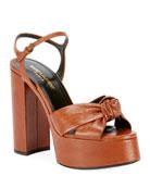 Saint Laurent Knotted Leather Platform Sandals